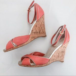 Joey O Coral & Gold Cork Wedge Heels - Size 10